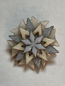 LUCINDA Pin Snowflake Christmas Winter Holiday Crystal Frost Glitter RARE Brooch