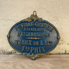 French Vintage Agriculture Plaque Trophy Award Animals Prize Sign 1978 06031916