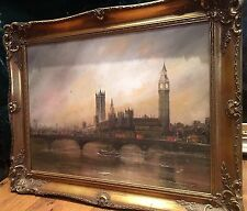 OIL PAINTING Large LONDON Big ben + bridge Mid 20th Century Signed in GOLD FRAME