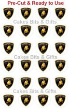 24x Lamborghini Car Logo Badge Edible Wafer Cupcake Toppers Pre-cut Ready to Use