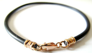 Black silicone cord 14k rose gold bracelet string bangle men women cuff jewelry