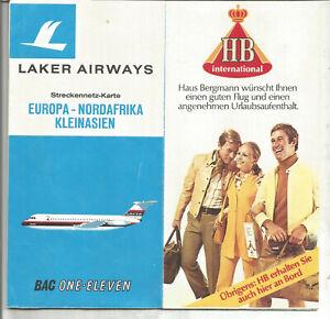 Laker Airways Streckennetzkarte Europa-Nordafrika-Kleinasien