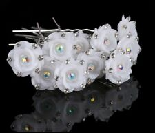 White Rose Flower Crystal Hair Pins Grip,Wedding,Prom,Bridal x10
