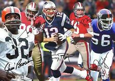 Tom Brady Jerry Rice Montana 5 Greatest NFL Football Autograph signed A4 poster