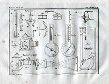 Lanterna Magica. Igrometro di Saussure.Megascopio. Acquaforte.Stampa Antica.1835