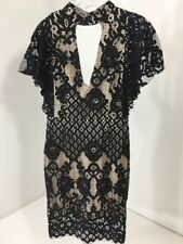 FOREVER 21 WOMEN'S LACE OVERLAY CUTOUT MINI DRESS BLACK OVER CREAM XS NWT $68