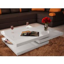 Modern Coffee Table High Gloss Finish White 3 Layers Extendable Living Room