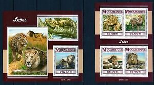 MOZAMBIQUE 2015 LEOES PANTHERA LEO WILD CATS ANIMALS FAUNA STAMPS MNH**