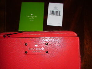 Kate Spade LAYTON Wellesley Leather Top Zip Wallet Wristlet Lacquer Red New NWT