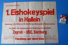 ZAGREBvs USC SALZBURG (1952) 1st ice hockey game in Hallein Austria - old poster