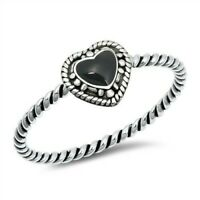 Heart Ring Genuine Sterling Silver 925 Black Onyx Oxidized Height 6 mm Size 6