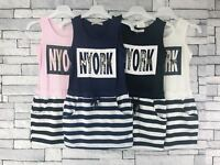 Kids Girls Summer Tunic Striped Baby Dress Casual Party Sundress Clothes 3-13 Y