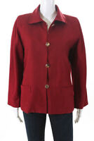 Yves Saint Laurent Womens Vintage Button Down Blazer Jacket Red Silk Size Euro 4