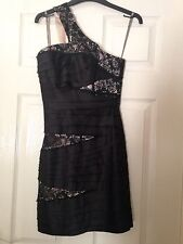 Redherring Special Edition Black Lace Zipped Back One Shoulder Dress Size 6