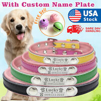 Personalized Leather Dog Collar with name plate Custom engraved Pet ID tag
