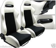 2 WHITE & BLACK RACING SEATS RECLINABLE + SLIDERS ALL PONTIAC NEW *