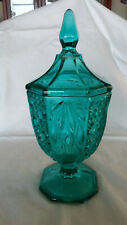 Vintage Teal Glass Candy Dish With Lid - Excellent Condition