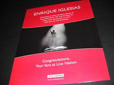 Enrique Iglesias thousands and millions. 2007 Live Nation Promo Poster Ad mint