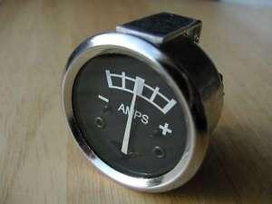 """chrome 1 3/4"""" black dial + - AMMETER BSA TRIUMPH NORTON AJS ARIEL MATCHLESS"""
