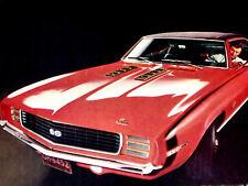 1969 CHEVY CAMARO SS ORIGINAL AD - RS/Z28/396/427/350 v8 engine/intake manifold
