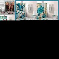 US 4Pcs Non Slip Bathroom Pedestal Rug Bath Mat Toilet Seat Cover Shower Curtain