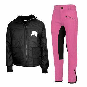 Reitset Kinder Reitjacke Mia schwarz gesteppt mit Reithose pink