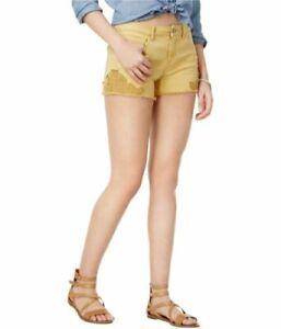 VANILLA STAR Junior Cotton Midrise Faded Sun Crochet Denim Shortie Shorts NWT 11