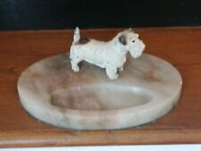 More details for cold painted terrier on alabaster base pin tray art deco?