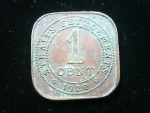 Straits Settlements 1 Cent 1920 British Malaysia Singapore KGV 660# Money Coin