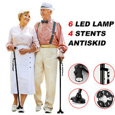 Magic Cane Sturdy Folding Walking Four Head Pivoting Trusty Base With LED Light