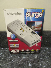 Newpoint Resettable Surge Protector 8 Outlet Telephone Line Coaxial Line 6' Cord