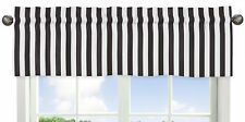 Black White Stripe Window Valance Curtain For Sweet Jojo Designs Paris Bedding