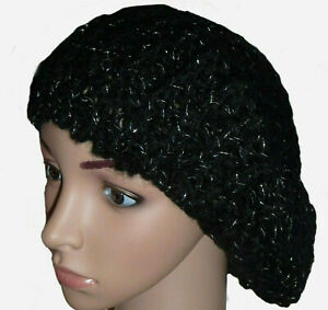 Womens Girls Black Crochet Soft Knitted Beret Hat One Size Silver Sparkly Finish