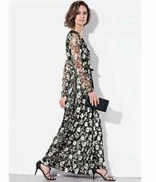Kaliko Black Embellished Sequin Wrap Maxi Dress Size UK 20 NH191 KK 08