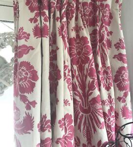 LAURA ASHLEY Mtm Tatton Cerise Pink Ivory Damask Linen Mix Curtains