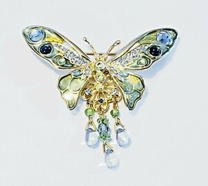 Kirks Folly Gold Plated Green and Blue Crystal Butterfly Brooch