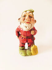 Small Happy Garden Gnome   Red Green & Yellow Vintage Decor