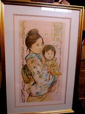 EDNA HIBEL CHILDREN'S DAY Original Signed Serigraph COA Framed Mother Child Art