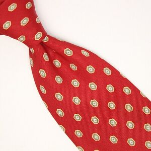 Nicky Milano Mens Silk Necktie Red Sage Green Gold Hexagon Print Made in Italy