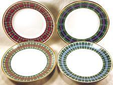 "SET FOUR (4) WILLIAMS-SONOMA 9"" Salad Plates TARTAN Japan ALL DIFFERENT PATTERNS"