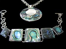 Bracelet Set Abalone 925 Taxco Sterling Silver Necklace Pendant and