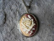 - Two Toned-Antique Bronze, Vintage Look Cream, Brown, Caramel Rose Cameo Locket