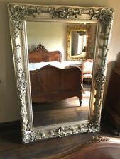 WOOD ANTIQUE SILVER 6FT X 3FT ORNATE  FRENCH LEANER DRESS SWEPT WALL MIRROR