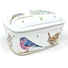 Butter Keeper Holder Dish Country Life Birds Lidded Fine China Kitchen Gift