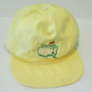 Vintage The Masters Logo Yellow Strapback Derby Cap Hat