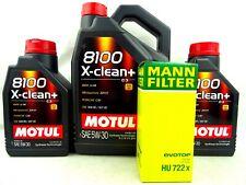 Motul 8100 X-Clean+ 5W30 + MANN Ölfilter HU722x 5W-30 BMW E46 E81 109220 7Liter
