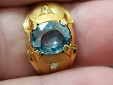 NOS Vintage 10K gold filled Blue Zircon 3.13 cts Mens ring size 9 weighs 4.3 gms