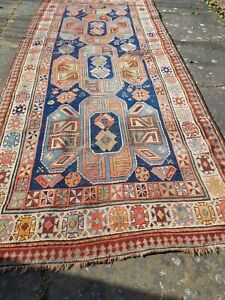 Handmade Antique Caucasian Kazak rug size 267 x 120 cm
