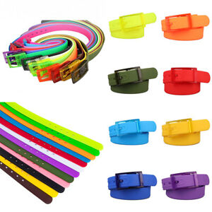 Unisex Plastic Buckle Belt Silicone Rubber Smooth Buckle Waistband Gift Outdoor