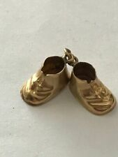 Vintage 14k Solid Yellow Gold Baby Bootie Shoes Charm 1.8g Collectible Rare